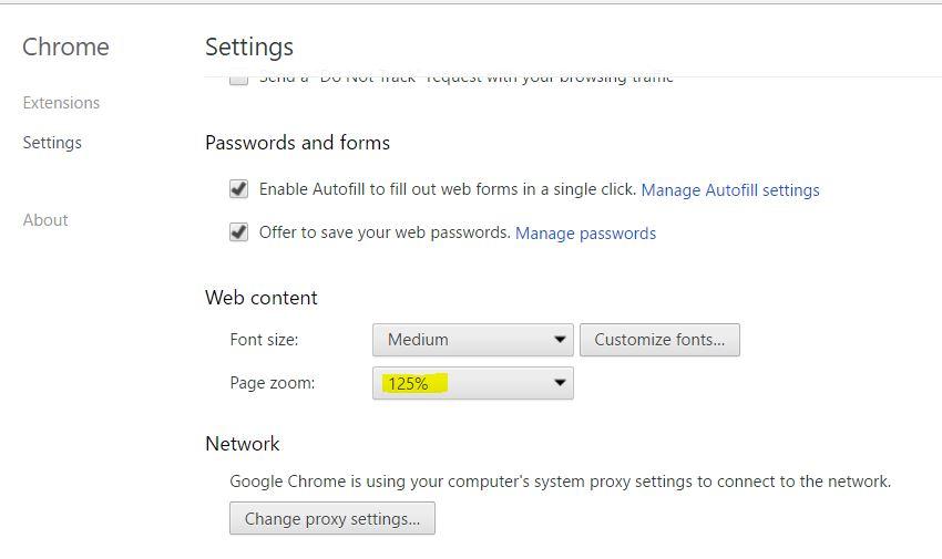 Google Chrome Settings for Large Monitors